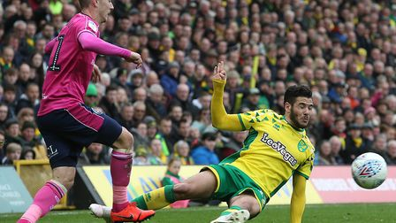 Norwich City attacker Emi Buendia was red carded for a lunge on QPR's Josh Scowen Picture: Paul Ches