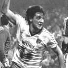 Steve Bruce celebrates his late League Cup semi-final winner against Ipswich at Carrow Road in 1985