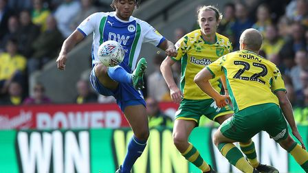 Wigan star Reece James up against City dangerman Teemu Pukki when the teams met at Carrow Road in Se