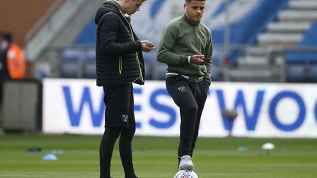Todd Cantwell of Norwich and Max Aarons of Norwich before the Sky Bet Championship match at the DW S
