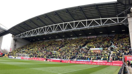 5500 traveling Norwich fans before the Sky Bet Championship match at the DW Stadium, WiganPicture by