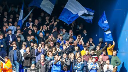 North Stand fans sang throughout the Ipswich Town v Birmingham City match. Picture: Steve Waller