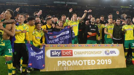 Norwich City celebrate earning their place back in the Premier League. Picture: Paul Chesterton/Focu