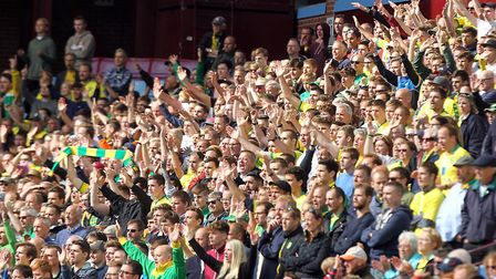 There were 1,544 Norwich fans at Villa Park as City lost 4-2 at the start of last season Picture: Pa