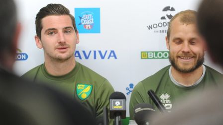 Kenny McLean, left, and Teemu Pukki were on good form during Norwich City's promotion press conferen