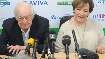 Majority shareholders Michael Wynn Jones, left, and Delia Smith were all smiles at City promotion de
