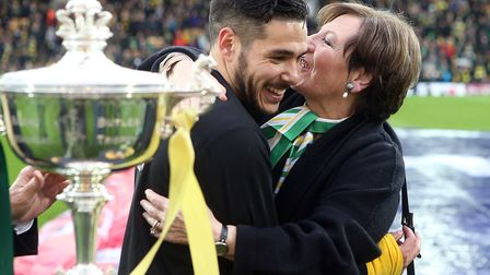 Delia Smith congratulates Emi Buendia after he finished third in the Player of the Season votes from