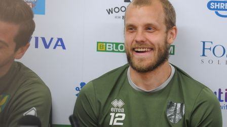 Teemu Pukki shares a joke as Norwich City hold a series of interviews to celebrate their Premier Lea