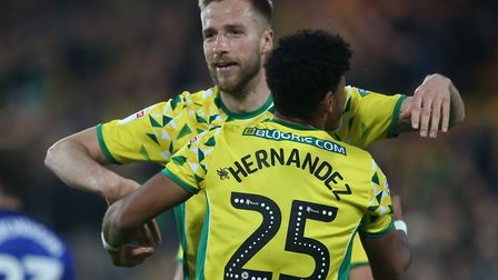Marco Stiepermann celebrates putting Norwich in front against Sheffield Wednesday Picture: Paul Ches