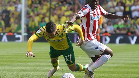 Emi Buendia is brought down by Stoke's Peter Etebo Picture: Paul Chesterton/Focus Images