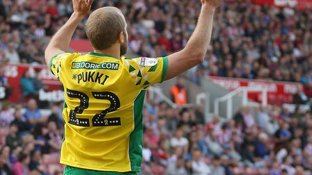 Teemu Pukki celebrates scoring Norwich City's second goal at Stoke - and his 28th of a stunning Cham