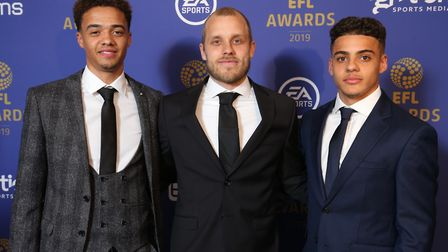 Norwich City players, from left, Jamal Lewis, Teemu Pukki and Max Aarons, pictured at the EFL Awards