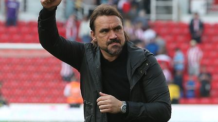 Daniel Farke salutes the travelling support at Stoke City Picture: Paul Chesterton/Focus Images Ltd
