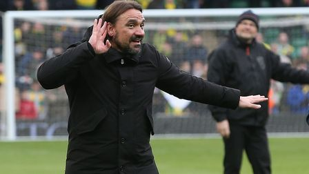 Norwich Head Coach Daniel Farke celebrates victory with the home fans at the end of the Sky Bet Cham