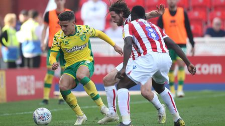 Max Aarons in action at Stoke - the City full-back should be realising a dream next season Picture: