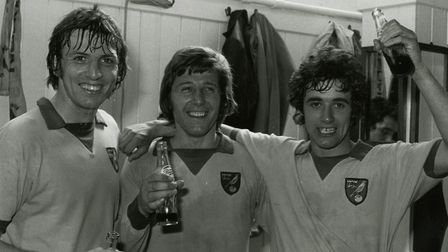Winning 3-0 at Portsmouth allowed Norwich City to celebrate promotion in 1975 Picture: Archant libra