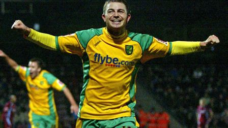 Jamie Cureton celebrates scoring the winner at Scunthorpe for Norwich City in a Championship game in