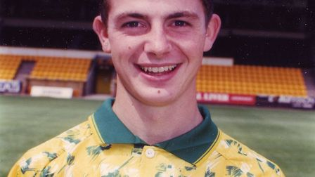 Jamie Cureton pictured ahead of the 1993-94 season as a young player at Norwich City Picture: Archan