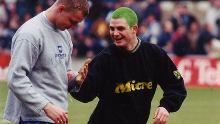 The famous dyed green hair sported by Jamie Cureton at Ipswich in April 1996, a game Norwich lost 2-
