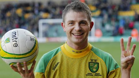 Jamie Cureton with the matchball after scoring a hat-trick for Norwich against former club Colcheste