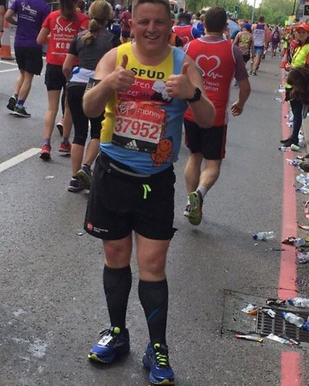 Spud Thornhill after completing his first London Marathon in 2017