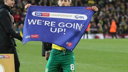Mario Vrancic enjoys Norwich City's promotion celebrations at Carrow Road Picture: Paul Chesterton/F