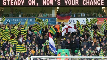 Norwich City's support played a full part in a promotion clinching win over Blackburn Picture: Paul