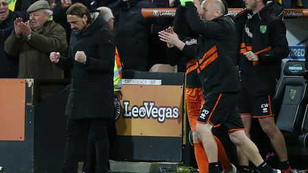 Norwich City head coach Daniel Farke at the final whistle after promotion was confirmed Picture: Pau