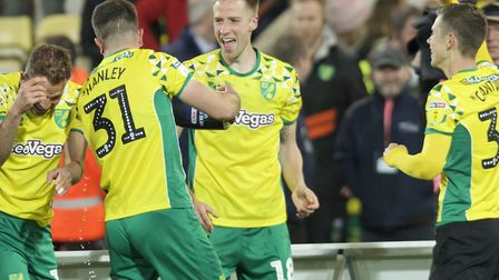 Marco Stiepermann was in the thick of Norwich City's promotion celebrations Picture: Alan Stanford/F