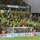 Several flags representing the nationalities of Norwich City players were on show at Carrow Road bef