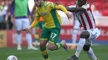 Norwich City Emi Buendia made a welcome return from suspension at Stoke City Picture: Paul Chesterto