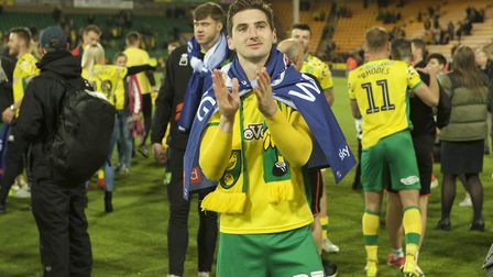 Kenny McLean of Norwich City celebrates after winning promotion to the Premiership in the Sky Bet Ch