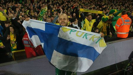 Teemu Pukki of Norwich celebrates promotion at the end of the Sky Bet Championship match at Carrow R