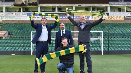 Archant and fan group Along Come Norwich launch the Sing Up The River End campaign. From left, Ben K