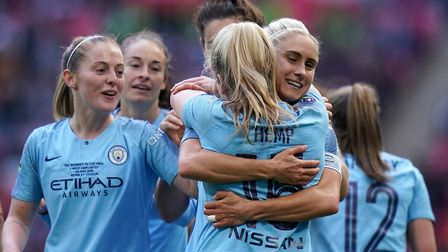 Lauren Hemp is congratulated by Manchester City and England international Steph Houghton Picture: Jo