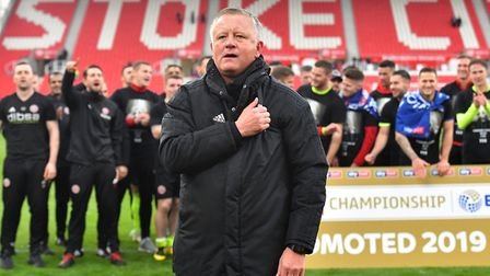 Sheffield United manager Chris Wilder celebrates promotion to the Premier League after the Sky Bet C