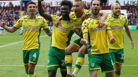 Mario Vrancic of Norwich celebrates scoring his side's second goal during the Sky Bet Championship m