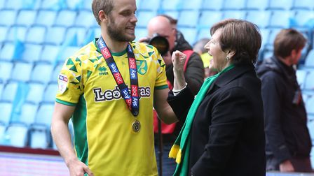 Delia Smith has a post-match chat with one of her finest investments, Teemu Pukki