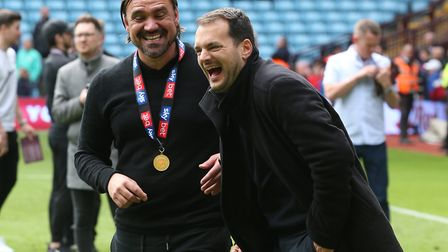 Norwich City Sporting Director Stuart Webber and Norwich Head Coach Daniel Farke at the end of the S