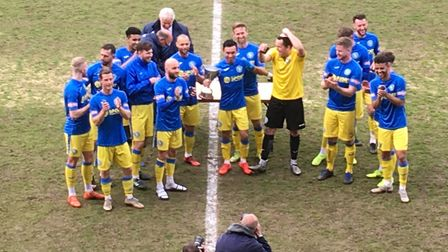 Celebration time for the Linnets Picture: Chris Lakey