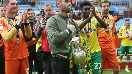Ivo Pinto was involved in Norwich City's title celebrations at Aston Villa ahead of his summer exit
