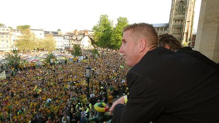 Iwan Roberts looks over the hoards of City fans at the civic reception in 2004. Picture: Archant