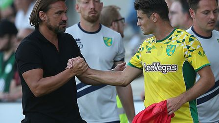 Will Ben Marshall get another chance to impress Daniel Farke, left, during pre-season? Picture: Paul