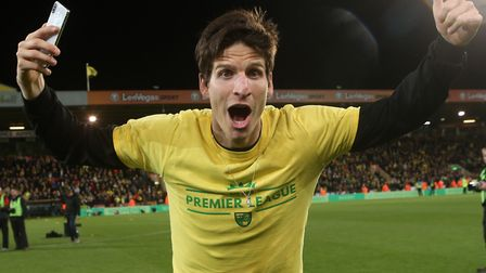 Timm Klose enjoys Norwich City's promotion celebrations after beating Blackburn Picture: Paul Cheste