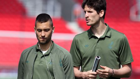 Both Moritz Leitner (left) and Timm Klose had limited Norwich City chances in 2019 - and both will h