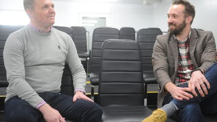 Norwich City head of recruitment Kieran Scott chats to Michael Bailey at Colney. Picture: Tony Thrus