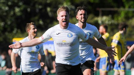 Michael Gash celebrates his stunning extra-time winner for King's Lynn Town at Warrington Picture: I