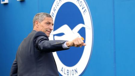 Brighton & Hove Albion manager Chris Hughton prior to their final day visit from Manchester City - w
