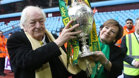 Delia Smith and Michael Wynn Jones got their hands on the Championship trophy during City's celebrat
