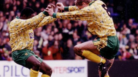 Ruel Fox and Lee Power - two Norwich City youth products - celebrate a goal during the Canaries' rec